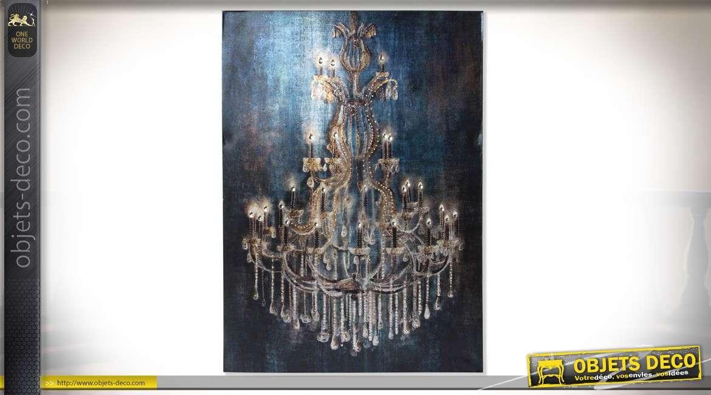 Peinture Dun Grand Lustre à Pampilles De Style Empire