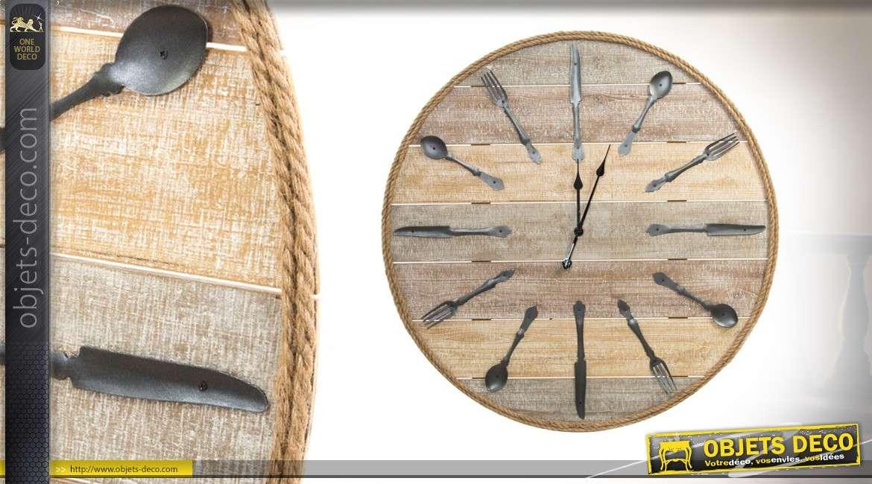 tr s grande horloge murale natural wood en bois corde et m tal de 100 cm. Black Bedroom Furniture Sets. Home Design Ideas