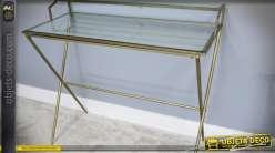 Bureau en verre et métal doré design style vintage