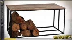 Table basse rustique avec rack à bûches en métal et bois 100 x 50 cm