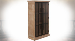 Meuble vitrine en métal et bois finition chêne oxydé (sapin + DM) 128 cm