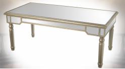 Table basse en bois et miroir de style vénitien vermeille 120 cm
