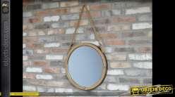 Miroir rond suspendu à cordages style bord de mer Ø 50 cm