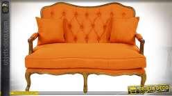 Canapé de style Louis XV avec tapisserie capitonnée orange 130 cm