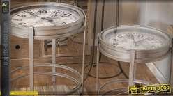 Série de 2 tables basses rondes de style industriel avec horloges intégrées Ø 52 cm