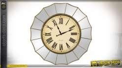 Horloge vintage avec encadrement en miroirs à facettes Ø 60 cm