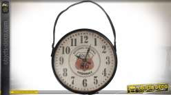 Horloge murale Route 66 avec anse de suspension en similicuir marron ø 66 cm