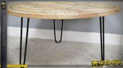 Table basse Ø 92 cm manguier finition naturelle avec mappemonde