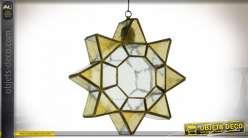 Suspension en verre ambré et métal noir en étoile inspirée de l'Art Califal musulman d'Espagne Ø 50 cm