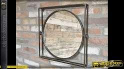 Miroir industriel rond dans encadrement carré en métal et en relief