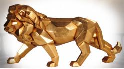 Statuette de lion doré effet stylisé origami 42 cm