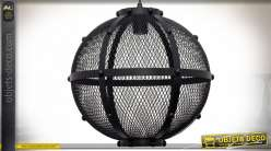 Suspension sphérique en métal noir grillagé style donjon médiéval Ø 42 cm
