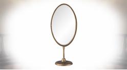 Grand miroir de table ovale en métal coloris cuivre vieilli 40 cm