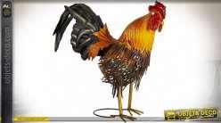 Grand coq décoratif en métal 42 cm