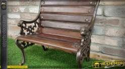 Banc court en bois vieilli et métal façon fer forgé ancien de style rétro