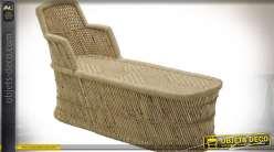 Chaise longue en bambou esprit lounge de style exotique 130 cm