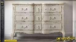 Commode arbalète à 9 tiroirs patine blanche vieillie 120 cm