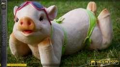 Décoration animalière humoristique jeune truie en bikini fluo 32 cm