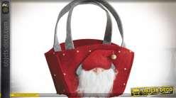 Panier de Noël en feutrine rouge 21 cm
