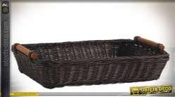 Manne rectangulaire en rotin teinté marron foncé et poignées bois 36 cm