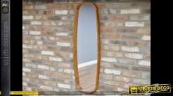Miroir mural vertical de style vintage avec encadrement en bois ciré 120 cm
