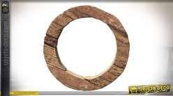 Grand miroir circulaire en bois brut et massif style rustique Ø 80 cm