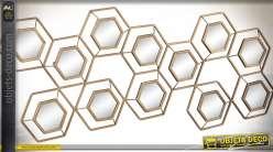 Miroir décoration murale métal style géométrique 15 éléments hexagonaux 108 cm