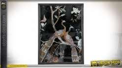 Cadre miroir ornementé d'une illustration de paons 61 cm
