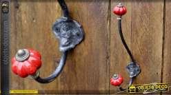 Portemanteaux style rétro bulbes en porcelaine coloris rouge