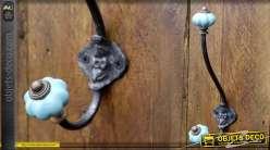 Portemanteaux style rétro bulbes en porcelaine coloris bleu clair