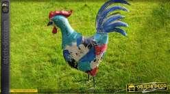 Coq décoratif en métal peinture style astrait et destructuré