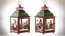Série de deux lanternes carrées en verre et métal, ornées sur le thème de Noël 37 cm