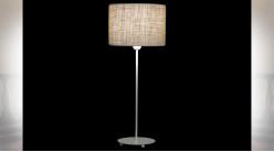 LAMPE DE TABLE MÉTAL POLYESTER 25X25X63 BLANC