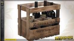 Casier à bouteilles de style rustique et ancien pour 6 bouteilles