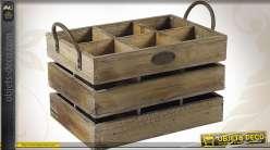 Caisse à bouteilles en bois vieilli et métal à 6 compartiments