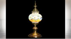 LAMPE DE TABLE VERRE MÉTAL 15X15X36 MULTICOLORE