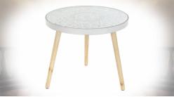 TABLE AUXILIAIRE MDF VERRE 52X52X40 MANDALA BLANC