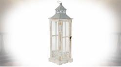Lanterne en bois et métal finition blanc décapé et gris clair 65 cm