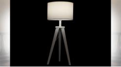 LAMPE DE TABLE BOIS POLYESTER 30X30X72 BLANC