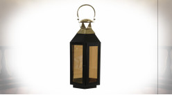 Lanterne hexagonale en métal noir et doré avec vitres teintées 46 cm