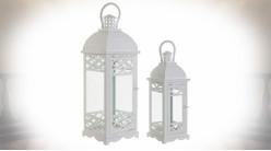 Série de deux lanternes blanches en métal de style romantique 53 cm