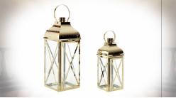 Set de 2 lanternes en métal poli doré avec croisillons 50 cm