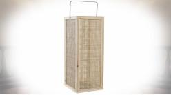 Lanterne exotique carrée en bois de paulownia naturel et rotin tressé 60 cm
