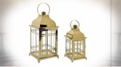Série de 2 lanternes rétro et luxueuses finition inox doré poli 49 cm