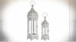 Série de deux lanternes orientales hexagonales en verre et métal blanc et doré 62 cm