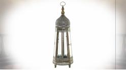 Lanterne octogonal en métal argenté et doré de style oriental 71 cm