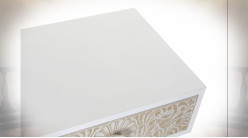 TABLE DE CHEVET SAPIN 48X37X70 MANDALA BLANC