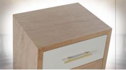 TABLE DE CHEVET PAULOWNIA MÉTAL 40X30X71 GRIS