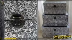 Série de 3 coffres décoratifs de style marocain noir et argent