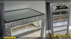 miroir oriental style marocain noir et argent m tal emboss. Black Bedroom Furniture Sets. Home Design Ideas